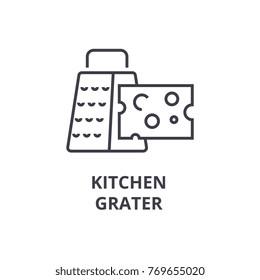 kitchen grater line icon, outline sign, linear symbol, vector, flat illustration