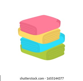 Kitchen hand towels, textile fabrics for spa, beach, shower cloth rolls lying in a pile. Colorful towels in cartoon style. Folded and hanging badges collection. Vector illustration, EPS 10.