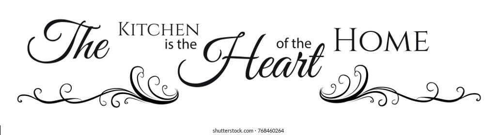 Kitchen Is Heart of the Home Wall Quote Stickers