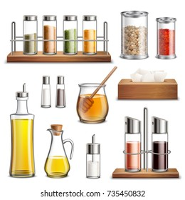 Kitchen herbs and spices rack cooking oil carafe bottle sugar dispenser and honey jar realistic set vector illustration