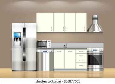 Kitchen and house appliances: microwave, refrigerator, gas stove, dishwasher, range cooker hood, stool, kitchen furniture