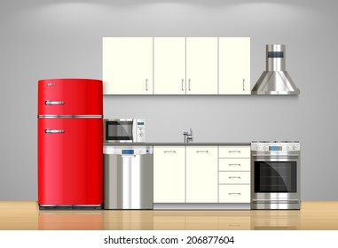 Kitchen and house appliances: microwave, refrigerator, gas stove, dishwasher, range cooker hood, stool, kitchen furniture