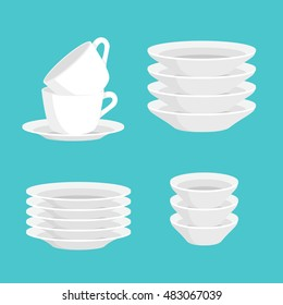 Kitchen household cutlery clean teacups and white ceramic plate stacked vector illustration set.Isolated empty service in stack. kitchenware cups and meal