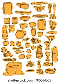 Kitchen icon objects dishes food tools with gold geometric background