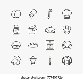 Kitchen icon set with bread, eggs and salt shaker. Set of bakery related kitchen icon set line vector items for web mobile logo design.