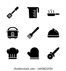 Kitchen Icon Set Including Spatula, Jug, Cooking, Rice Cooker, Fork, Dish, Chef, Oven Mitt and Pizza Cutter