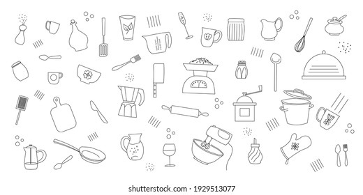 Kitchen icon set. Lines kitchen cooking tools and appliances, kitchenware, utensil flat icons collection. Vector illustration.