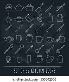 Kitchen icon set on blackboard. Isolated vector illustration in line style. Outline kitchen sign collection.