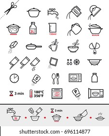 Kitchen icons for cooking instructions. Vector elements on white background. Detailed for any scale. Can be used for packaging, labeling, design, advertising, etc.