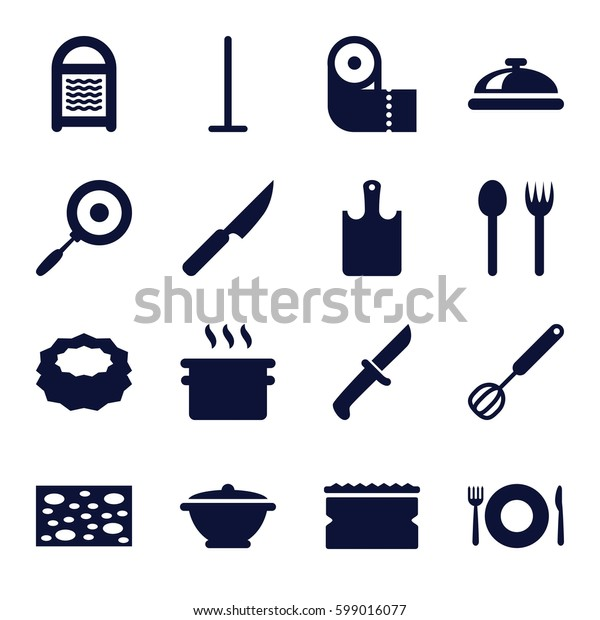 kitchen icons set. Set of 16 kitchen filled icons such as plate fork and spoon, dish, mop, sponge, paper towel, corolla, pan, chopping board, knife