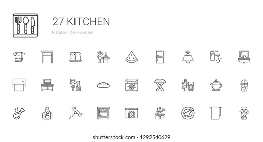 kitchen icons set. Collection of kitchen with chicken leg, sauce, chimney, oven, corkscrew, apron, tandoor, stool, sewing box, bread, tv table. Editable and scalable kitchen icons.