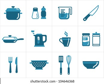 Kitchen icons set, easy to edit, re-size and colorize