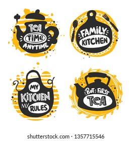 Kitchen icons set. Logo, icon and label. Hand-lettering phrase. Vector illustration for menu, shop, bbq, truck, restaurant, cafe, bar, poster, banner, sticker, placard