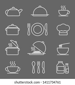 Kitchen icons set, White on a dark gray background vector icons in thin line style. Flat design