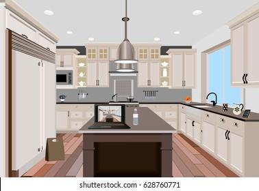 Kitchen interior background with furniture.Design of modern kitchen
