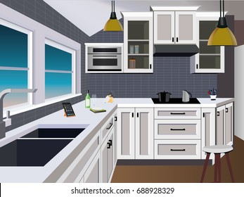 A Kitchen Cartoon Stock Vectors Images Vector Art