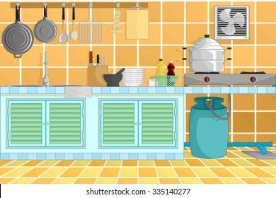 kitchen interior background from thai kitchen style with kitchenware. vector illustration.