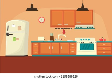 Kitchen Interior Cartoon Images Stock Photos Vectors