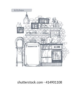 Kitchen interior concept. Line drawing by hand.A set of furniture and components cafe or kitchen. Can be used for banners, magazines, wallpaper, designs, web pages.