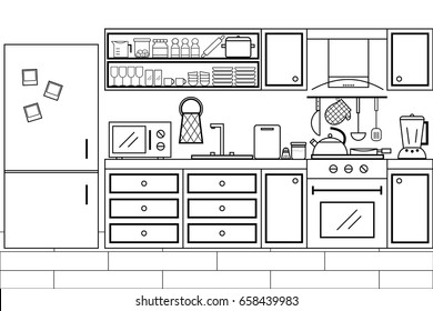 Kitchen interior design in black and white color with furniture and lots of kitchen utensils