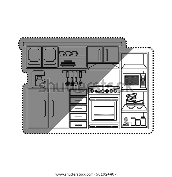Kitchen interior design icon vector illustration graphic design
