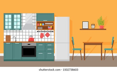 Kitchen interior with dining area, flat style, vector graphic design template