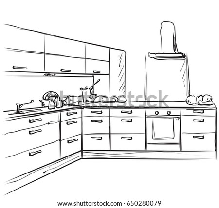 Kitchen Interior Drawing Furniture Sketch Stock Vector Royalty Free