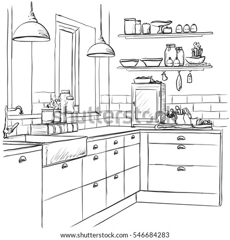 Kitchen Interior Drawing Vector Illustration Stock Vector Royalty