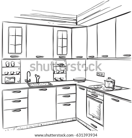 Kitchen Interior Drawing Vector Illustration Furniture Stock Vector