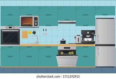 Kitchen interior flat illustration. Vector