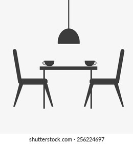 Kitchen interior, food cooking and dining room, furniture silhouette