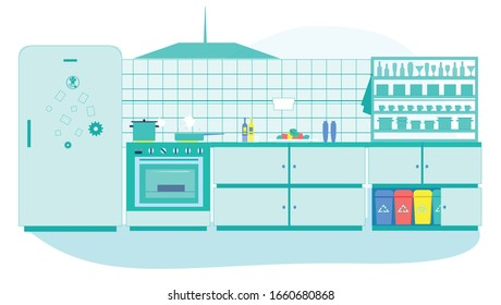 Kitchen Interior with Furniture, Cooking Supplies and Litter Bins for Different Types of Garbage. Recycling, Environmental Pollution Problem, Ecology Protection, Cartoon Flat Vector Illustration.