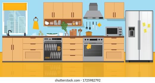 Kitchen Interior , with furniture. Flat style vector illustration.