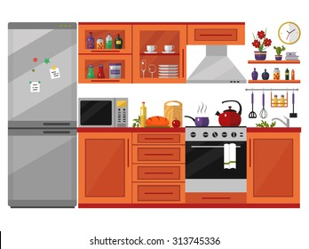 Kitchen interior with furniture, utensils, food and devices. Including fridge, oven, microwave, kettle, pot. Flat style vector icons and illustration isolated on white.