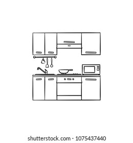Kitchen interior hand drawn outline doodle icon. Furniture for kitchen interior vector sketch illustration for print, web, mobile and infographics isolated on white background.