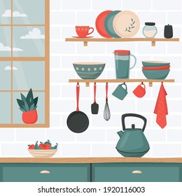 Kitchen interior with set of kitchen accessory on shelves. Vector kitchen tools. Kitchen shelves in retro style. Household utensil and cutlery, crockery. Cooking equipment and  food preparation theme