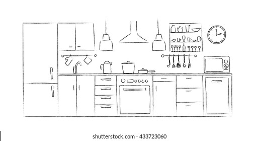 Kitchen interior sketches hand drawing front view. Contour vector illustration kitchen furniture and equipment. Cupboard, shelves, dishes, table, lamp, clock, crane, dishwasher, fridge, microwave.
