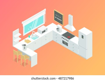 Kitchen interior vector illustration. Isometric room. The kitchen furniture and household appliances.