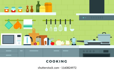 Kitchen interior. Working surface for cooking with stove, frying pans, microwave, electric kettle, cutting boards, mixer, towel, grater, jars for storage, furniture, ladle vector flat illustration.