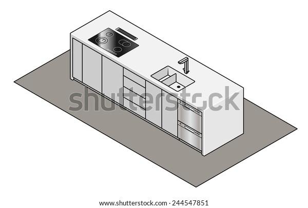 Enjoyable Kitchen Island Bench Builtin Sink Tap Stock Vector Royalty Alphanode Cool Chair Designs And Ideas Alphanodeonline