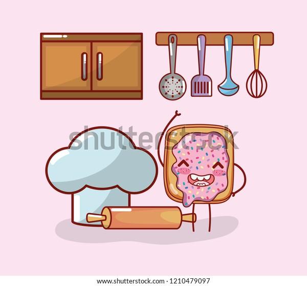 Kitchen Items Cartoon Kawaii Cartoon Stock Vector Royalty Free 1210479097