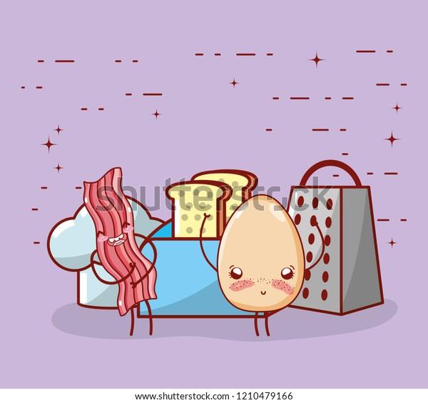 Kitchen Items Cartoon Kawaii Cartoon Stock Vector Royalty Free 1210479166