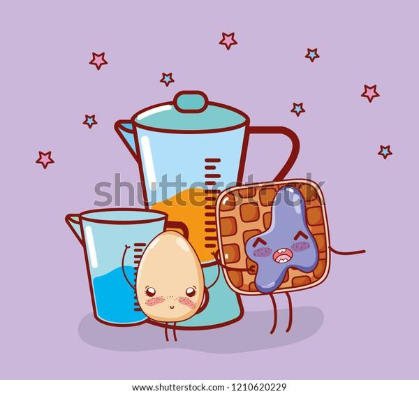 Kitchen Items Cartoon Kawaii Cartoon Stock Vector Royalty Free 1210620229