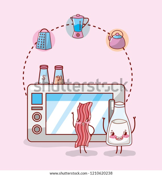 Kitchen Items Cartoon Kawaii Cartoon Stock Vector Royalty Free 1210620238