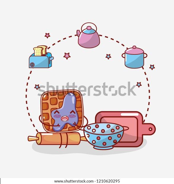 Kitchen Items Cartoon Kawaii Cartoon Stock Vector Royalty Free 1210620295