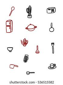 Kitchen items (Doodle vector art)