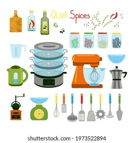 Kitchen items set, kettle, mixer, geyser coffee maker, steamer, captive and various spatulas for cooking, spices in jars and olive oil, vector clipart in flat style, isolated objects.