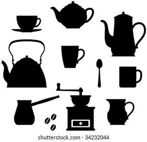 Kitchen items - teapots, coffee pot, cup etc.