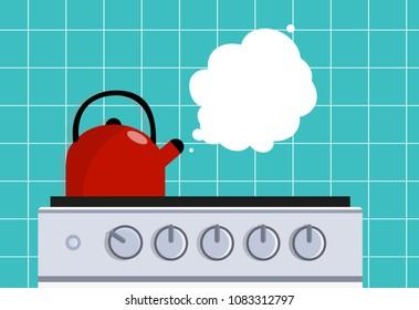 Kitchen kettle on the gas stove. Vector flat illustration.