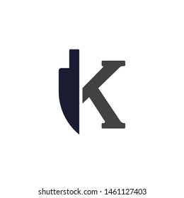 Kitchen Knife Letter K Initial Isolated Logo Vector